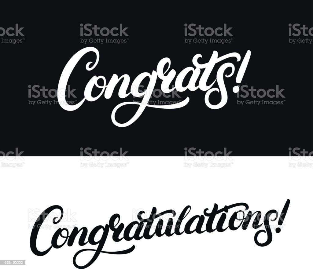 Congrats and Congratulations hand written lettering for card, greeting card, invitation, poster and print vector art illustration