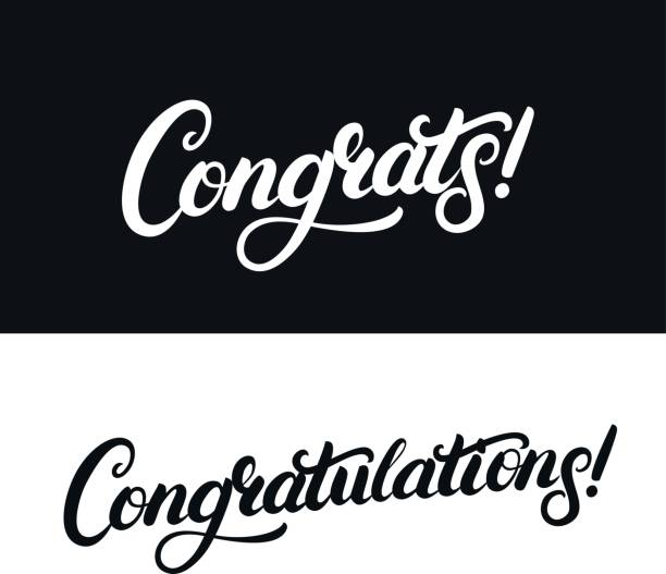 congrats and congratulations hand written lettering for card, greeting card, invitation, poster and print - congratulations stock illustrations, clip art, cartoons, & icons