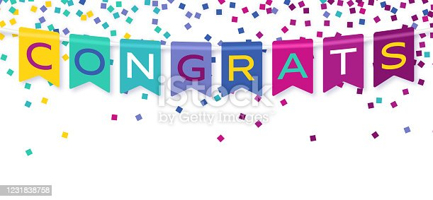 Congrats congratulations celebration confetti banner and party bunting background border design.