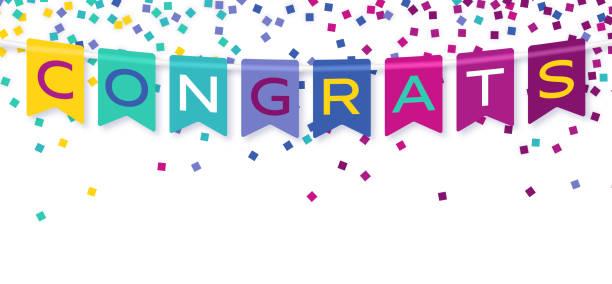 stockillustraties, clipart, cartoons en iconen met proficiat banner bunting celebration confetti - feliciteren
