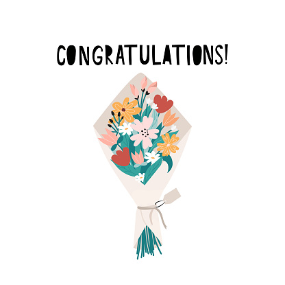 Congrats banner or greeting card template with bunch of flowers and lettering. Flat style doodled bouquet for greeting card, poster, print, invitation etc. Congratulations floral vector illustration