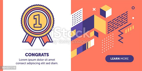 Badge vector banner illustration also contains icon for the topic.
