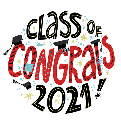Congrats Class of 2021 greeting lettering. Celebrating University Graduation during Covid-19 pandemic. Funny letters characters in eyeglasses, face medical mask, academic square caps.