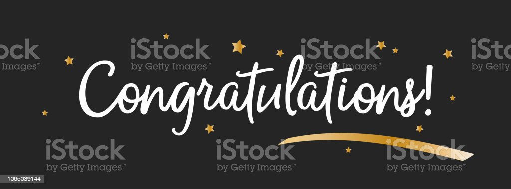 congrats congratulations banner with golen decorations handwritten