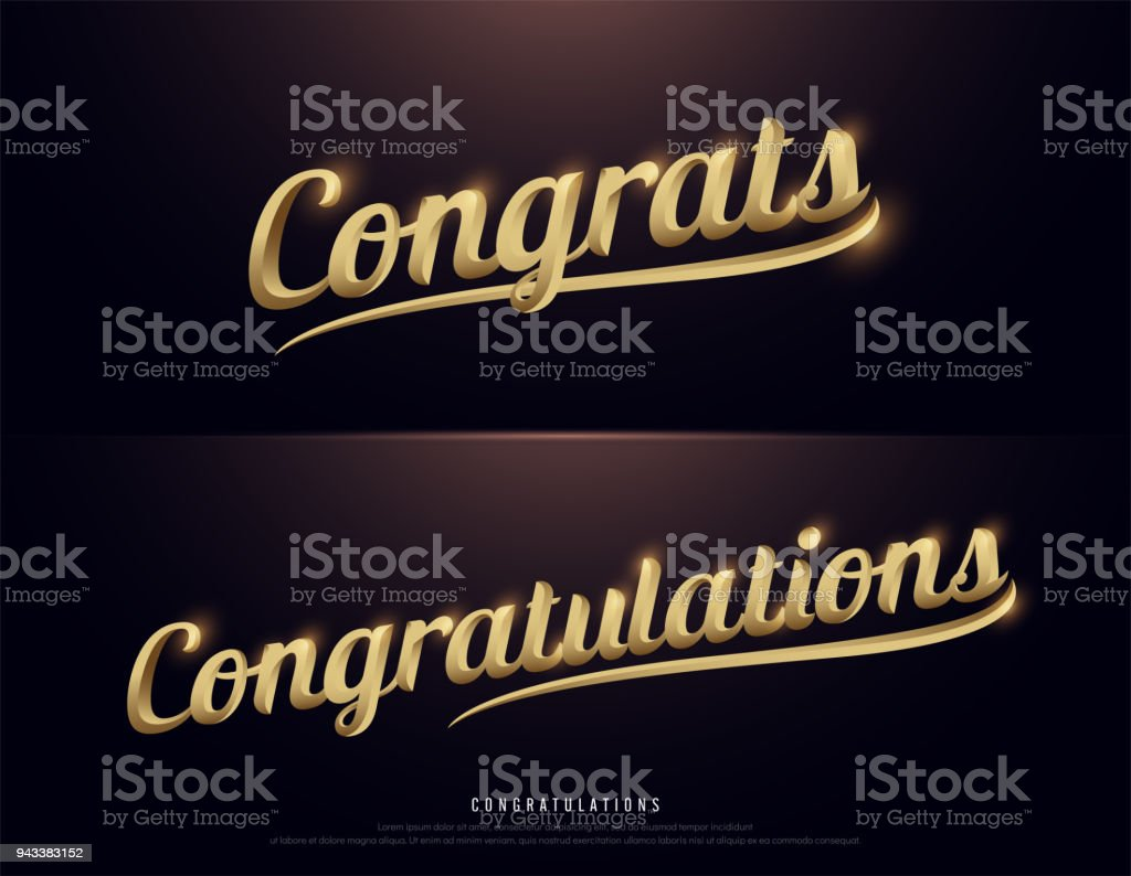 Congrats, Congratulations. Calligraphy lettering. Handwritten phrase with gold text on dark background. vector illustration vector art illustration