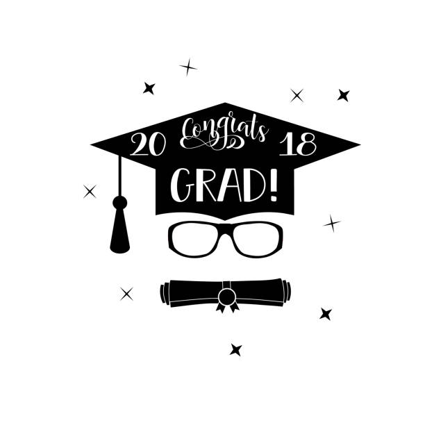 Royalty Free Congratulations Graduation Card With Cap And