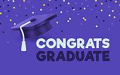 Congrats graduate mortarboard confetti celebration success purple background design.