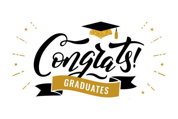 ilustraciones, imágenes clip art, dibujos animados e iconos de stock de felicidades graduados de la clase de la fiesta de felicitación de graduación 2019 - graduación