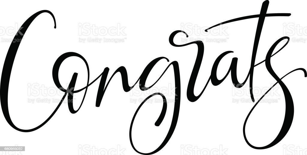 Congrats hand drawn lettering modern brush calligraphy