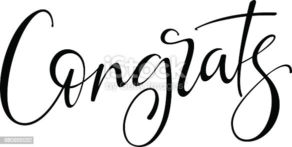Congrats hand drawn lettering. Modern brush calligraphy. Isolated on white background.