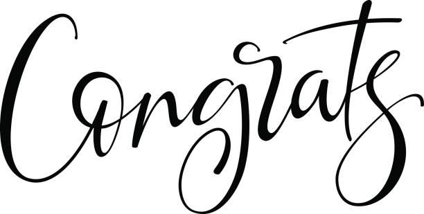 congrats hand drawn lettering. modern brush calligraphy. isolated on white background. - congratulations stock illustrations, clip art, cartoons, & icons