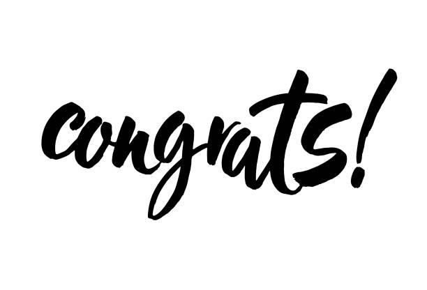 ilustraciones, imágenes clip art, dibujos animados e iconos de stock de felicidades mano escrito letras para tarjeta de felicitaciones, tarjetas de felicitación, invitación, póster e impresión. caligrafía de pincel moderno. aislado sobre fondo. vector de - agradecimiento