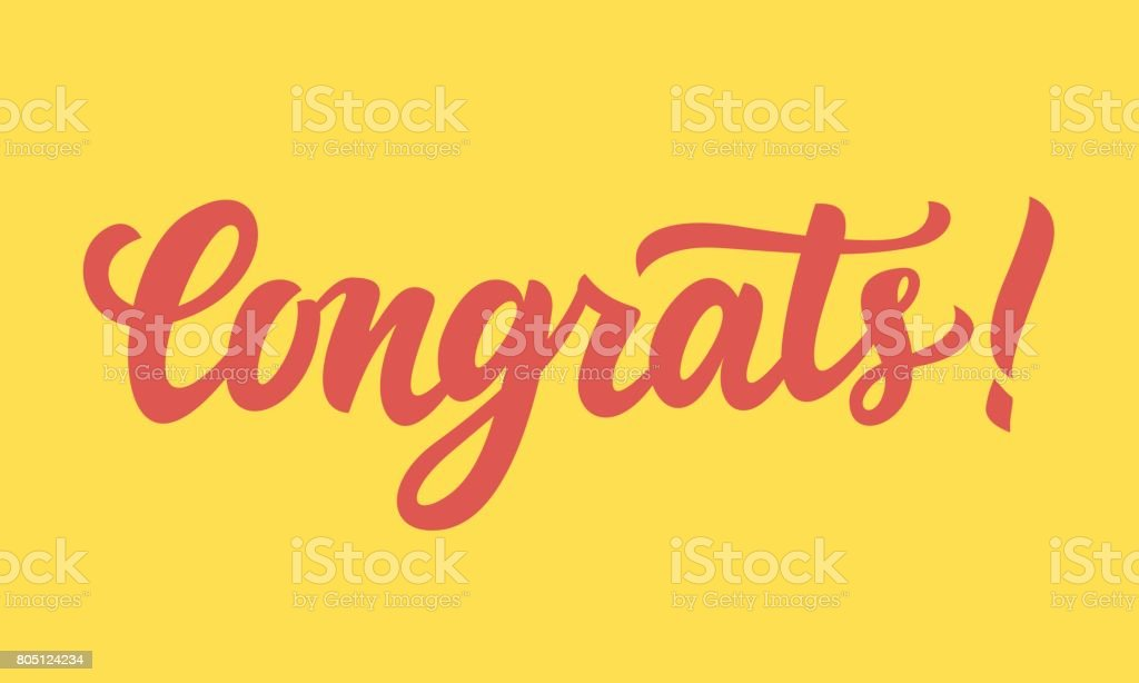 Congrats! Hand written lettering vector art illustration