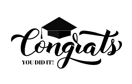 Congrats lettering with graduation cap isolated on white. Congratulations to graduates typography poster.  Vector template for greeting card, banner, sticker, label, t-shirt, etc.