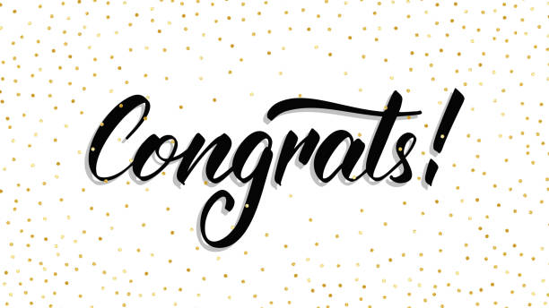congrats. modern handlettering congrats with polka dot confetti. greeting card template - congratulations stock illustrations, clip art, cartoons, & icons