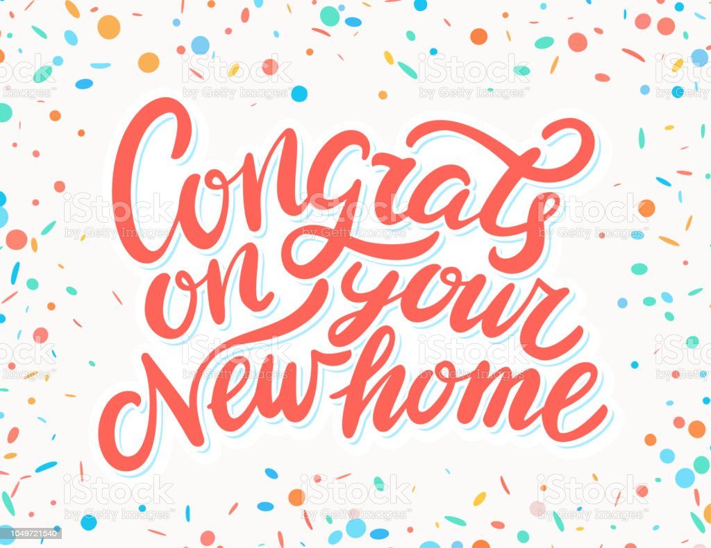 congrats on your new home hand lettering stock vector art more