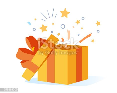 istock Congrats poster with open gift box, ribbons and confetti isolated on white background. Surprise carton for event. 1256869305