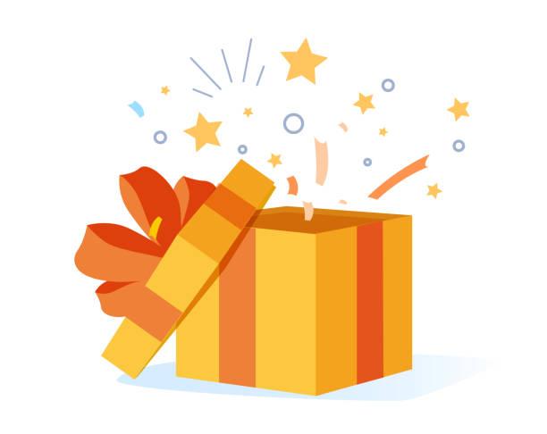 plakat z gratulacjami z otwartym pudełkiem, wstążkami i konfetti izolowanym na białym tle. karton niespodzianka na wydarzenie. - gift stock illustrations