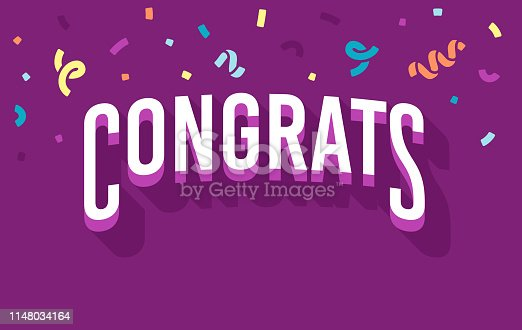Congrats congratulations message for party celebration or success.