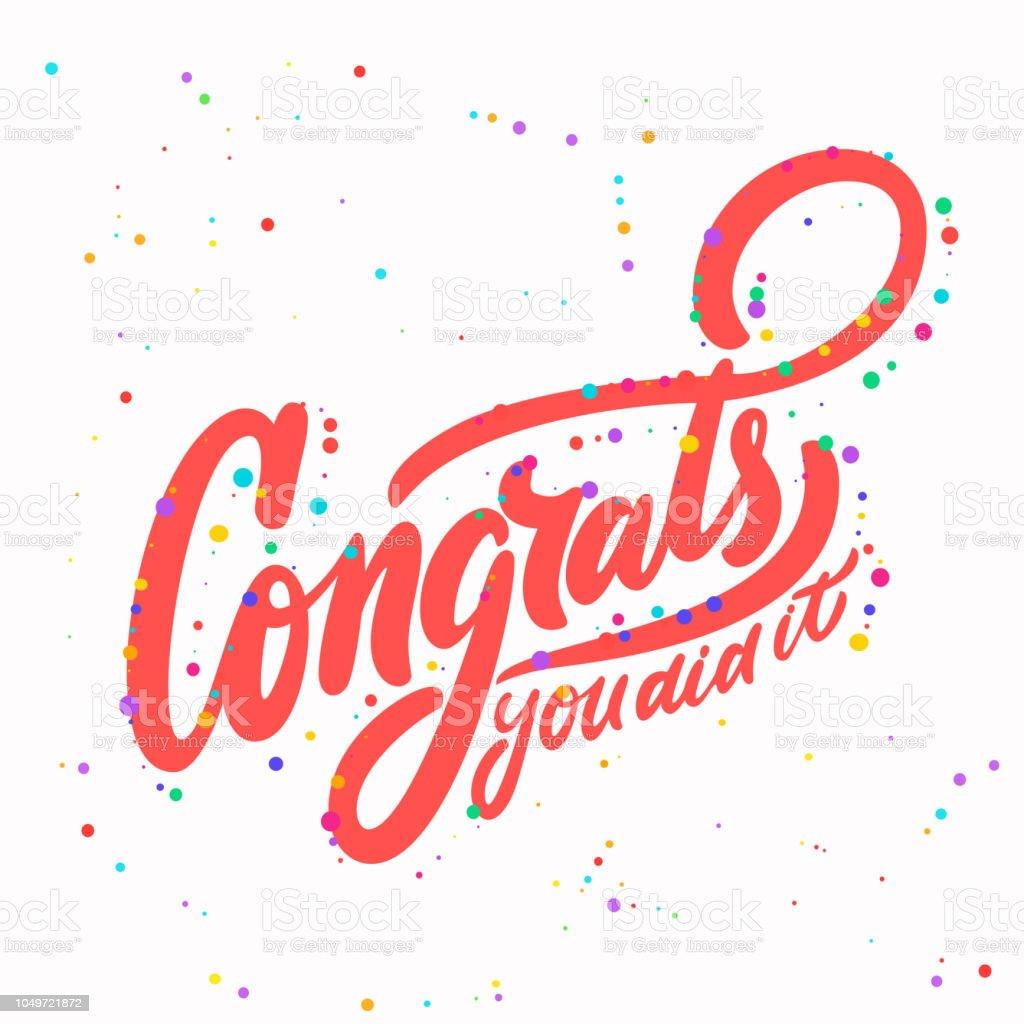 congrats you did it congratulations banner stock vector art more