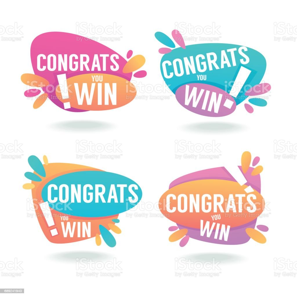 congrats you win vector congratulation banners and bubbles stock