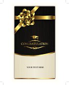 congratulating card-invitation card with golden ribbon