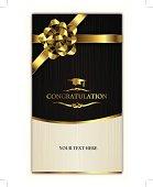 congratulating card-invitation card with golden ribbon