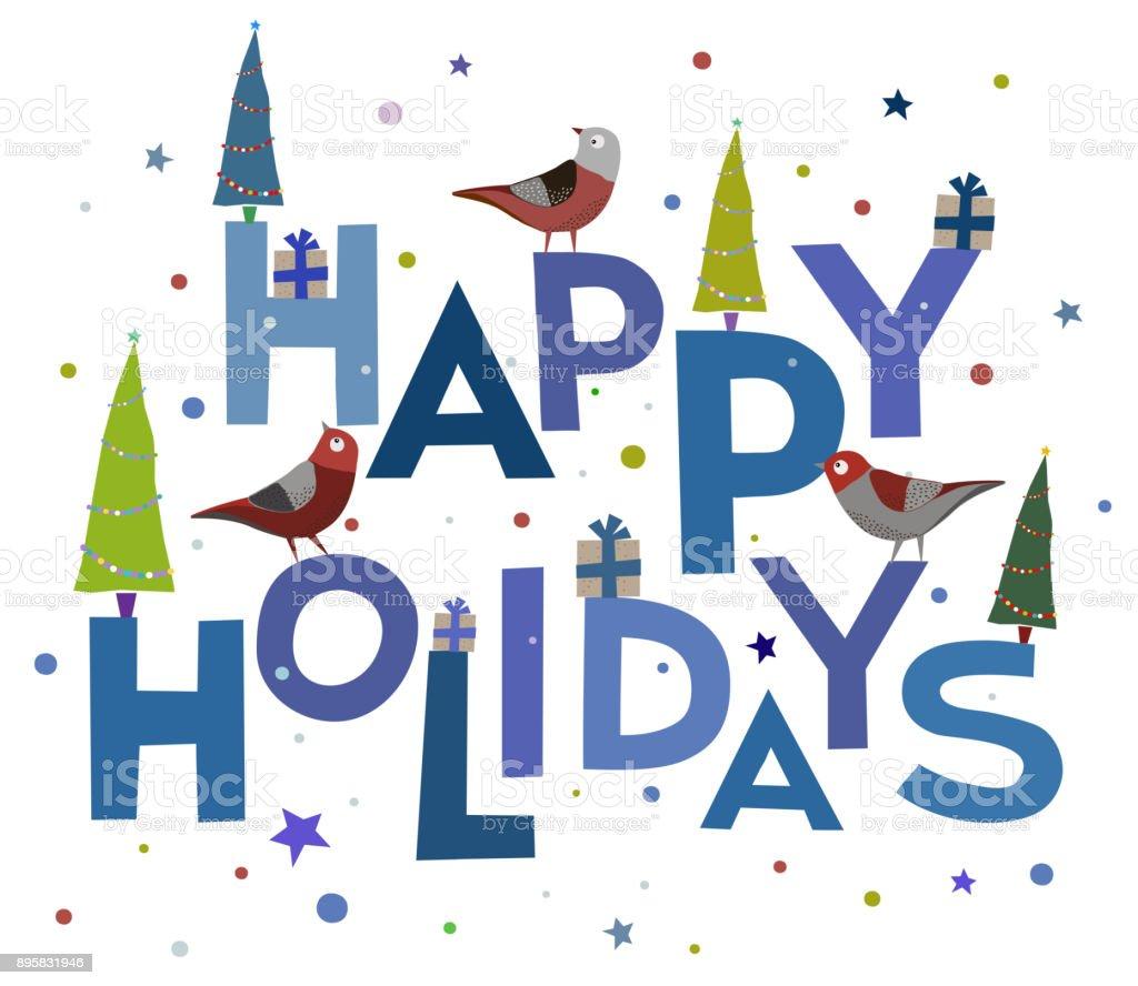 Gratulation Hintergrund Von Wörtern Kardinal Vogel Happy Holidays ...