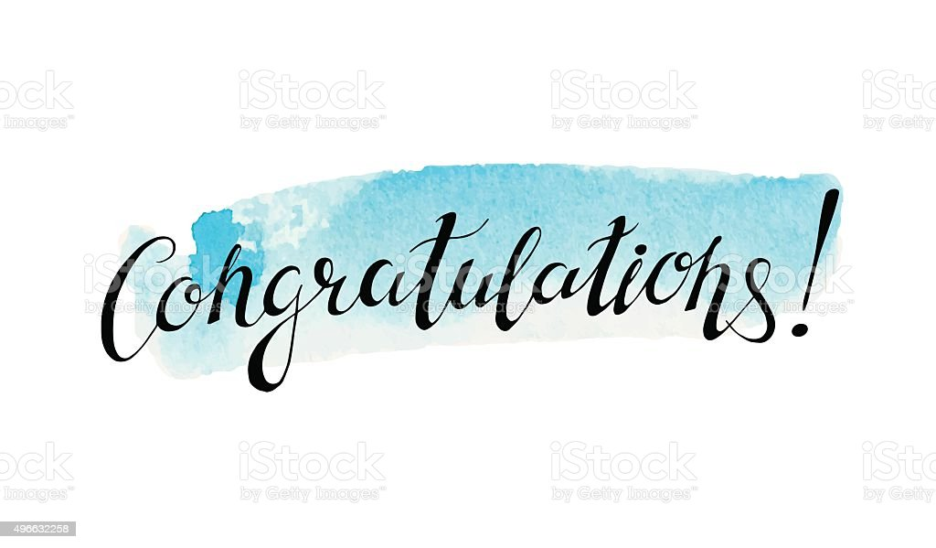 Congratulation banner with abstract watercolor stain vector art illustration