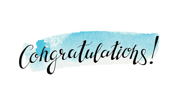 congratulation banner with abstract watercolor stain - congratulations stock illustrations, clip art, cartoons, & icons