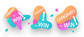 Congratulation Banners and Bubbles. You Win concept for your design