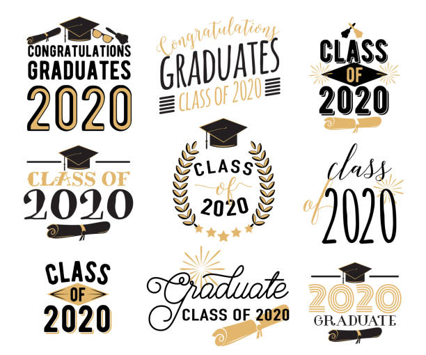 Congratulation graduation wishes overlays, lettering labels design set. Retro graduate class of 2020 badges. Hand drawn emblem with sunburst, hat, diploma, bell. Isolated on white background vector art illustration