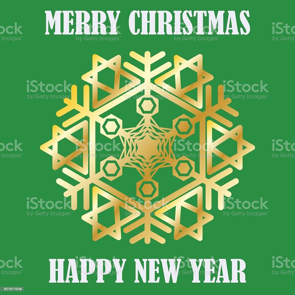 Congratulation Happy New Year and Merry Christmas. Gold snowflake. congratulation happy new year and merry christmas gold snowflake – cliparts vectoriels et plus d'images de carré - composition libre de droits
