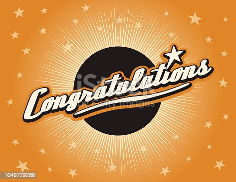 Vector illustration of Congratulations on banner design with color starburst background. EPS Ai 10 file format.