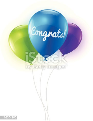 Congratulations balloons. EPS 10 file. Transparency used on highlight elements.