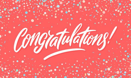 Congratulations banner. Vector handwritten lettering.