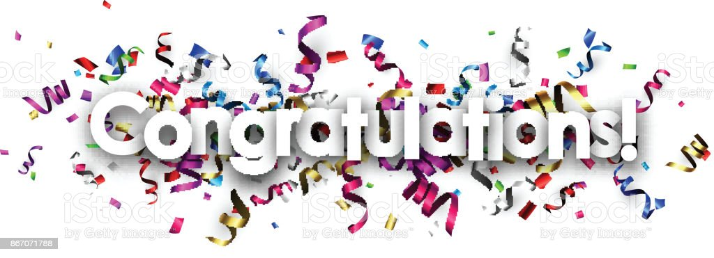 Congratulations banner with colorful serpentine. vector art illustration