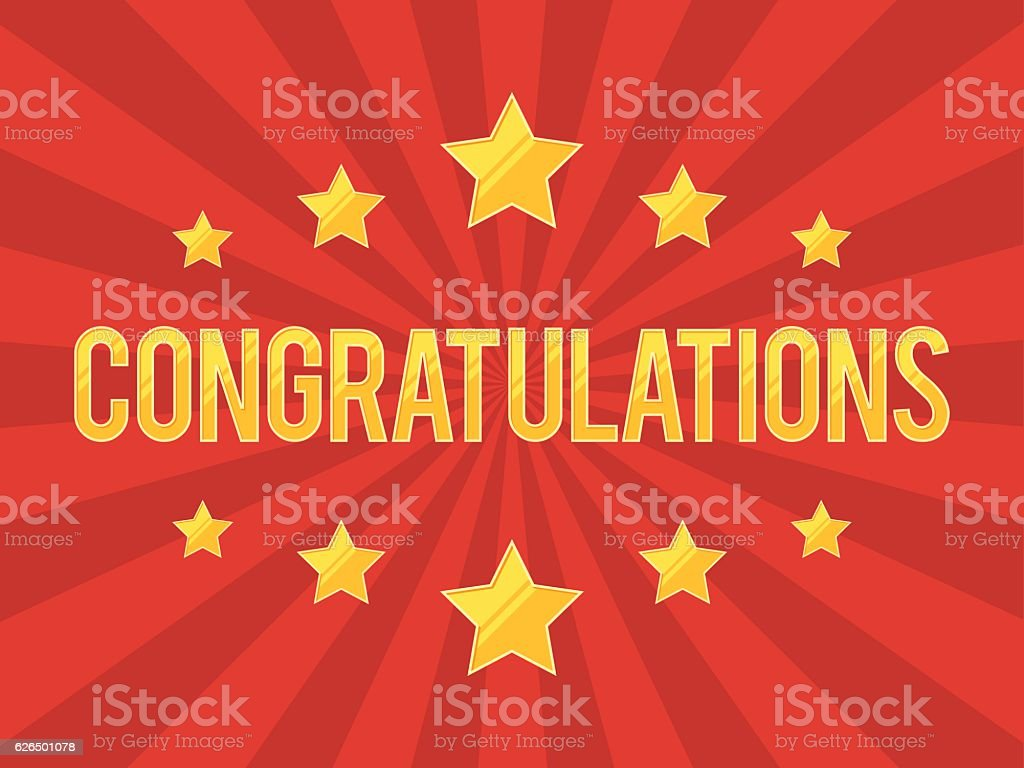 Congratulations Banner with stars vector art illustration