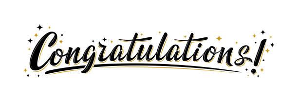 """ilustraciones, imágenes clip art, dibujos animados e iconos de stock de """"felicitaciones!"""" cartel de saludo de letras masivas - agradecimiento"""
