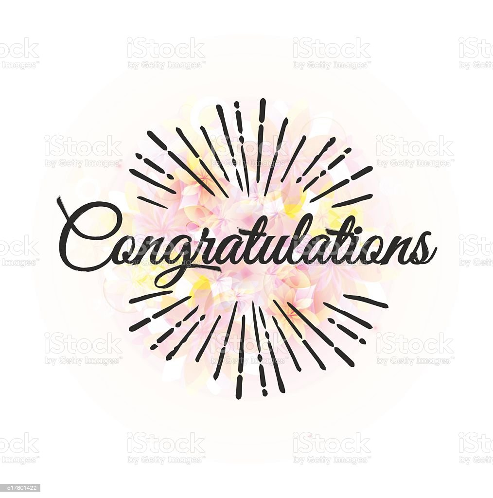 Congratulations calligraphy phrase with floral background