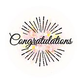 Congratulations. Calligraphy phrase with floral background