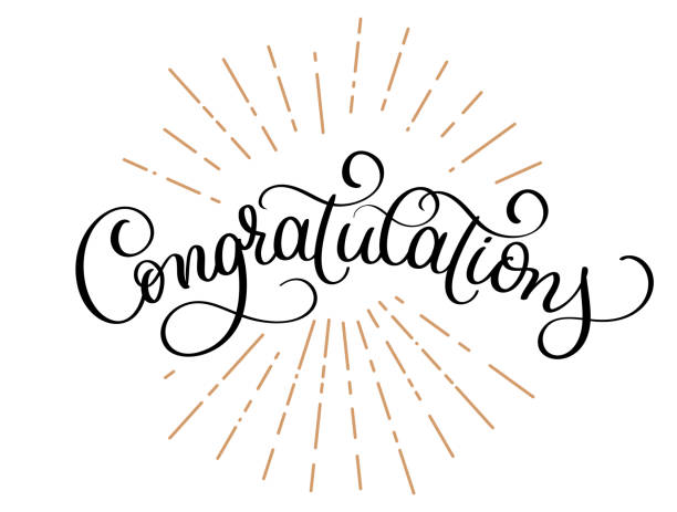 congratulations calligraphy vector hand written text. lettering. calligraphic banner - congratulations stock illustrations, clip art, cartoons, & icons