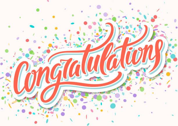 congratulations card. hand lettering - congratulations stock illustrations, clip art, cartoons, & icons