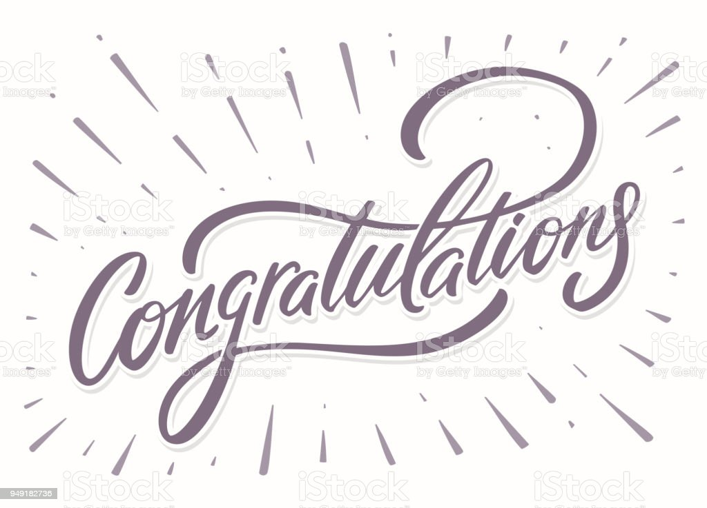 Congratulations card. Hand lettering vector art illustration