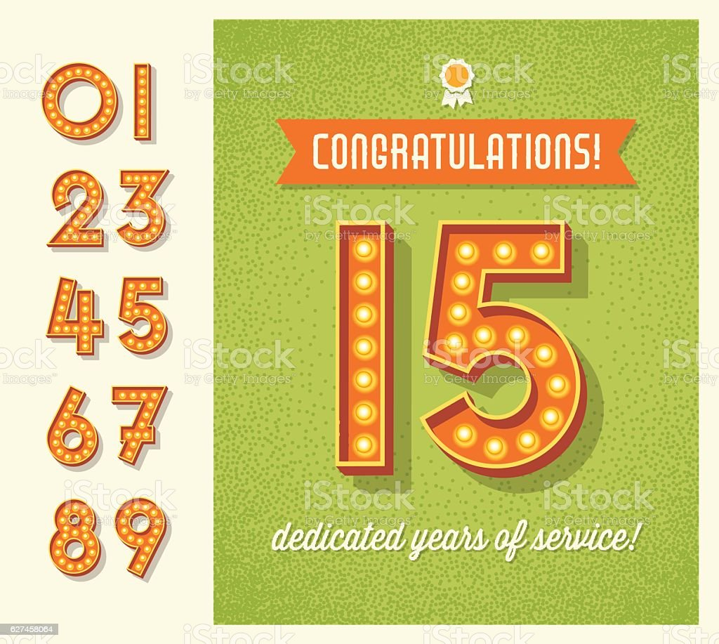 congratulations card or banner with set of lighted retro numbers