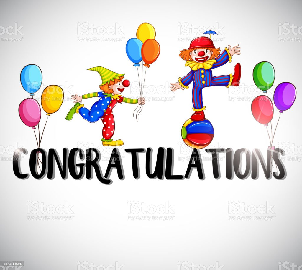 Congratulations Card Template With Clowns In Background Stock Vector ...