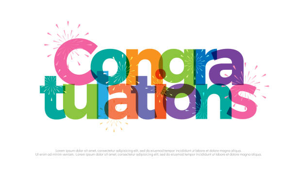 congratulations colorful with fireworks on white background. congratulations icon design for poster banner template. vector illustrator - congratulations stock illustrations, clip art, cartoons, & icons