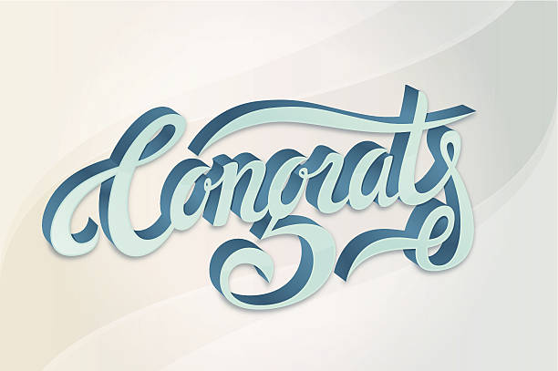 Congratulations compliments calligraphy card vector art illustration