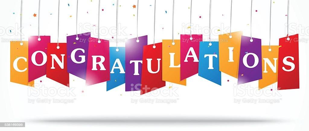 Congratulations design on label with confetti vector art illustration