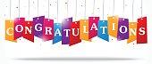 Congratulations design on label with confetti